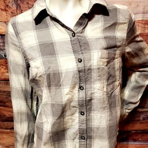 SO Gray & Off White Flannel Camp Shirt -Small
